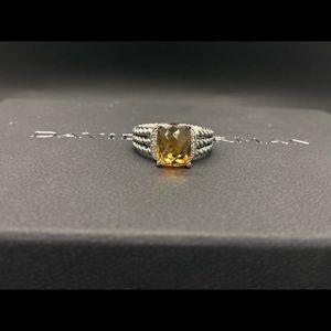 David Y Petite Wheaton Ring w/Citrine and Diamonds